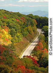 Mountain road in Tennessee during the autumn - A mountain...