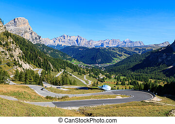 Mountain road in the valley