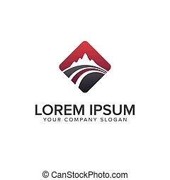 mountain road logo design concept template