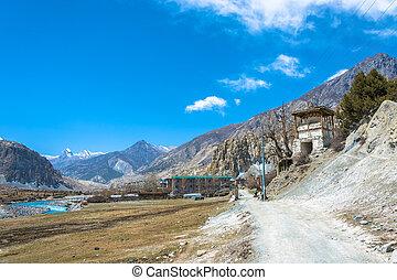 Mountain road on the route around Annapurna. - Mountain road...