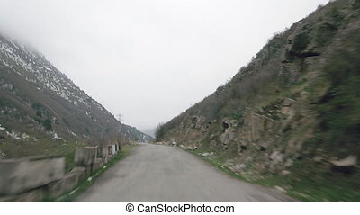 mountain road view from the car