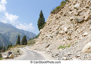 mountain road with stones