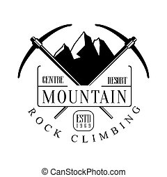 Mountain rock climbing centre resort logo. Mountain hiking,...