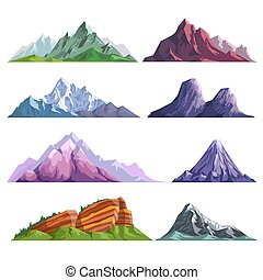 Mountain rocks or alpine mount hills nature flat isolated...