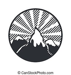 Mountain round label badge vector. Adventure retro logo vector illustration.