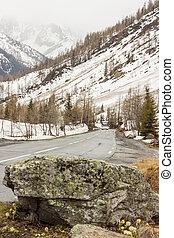 Route numer N506 view from place between Col de Montets (France) and Col de la Forclaz (Switzerland) pass.