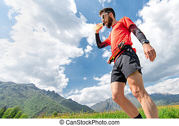 Mountain runner gets silk and rests during endurance