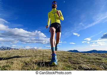 Mountain runner in a meadow