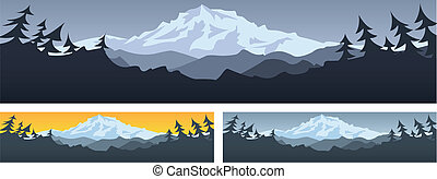 Mountain scene banner with room for text