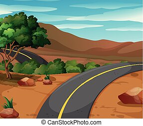 Mountain scene with empty road