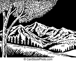 Mountain scene with tree in foreground doen in black and white