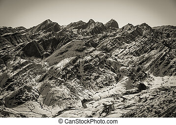 Mountain scenery in black and white