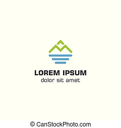 Mountain sea logo template