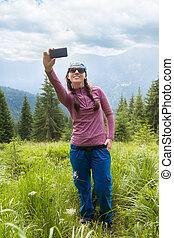mountain selfie in summer