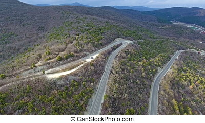 Mountain serpentine road through the forest, aerial view