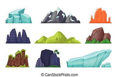 Mountain set. Cartoon rocky hills and creeks, snowy mountain peaks and glaciers, desert cliffs. Vector nature landscape element