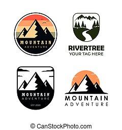 mountain set collection logo vintage
