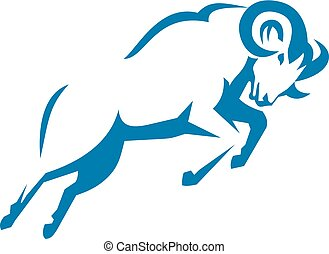 Mountain Sheep Jumping Side Retro - Illustration of a...