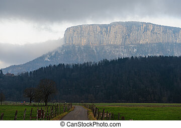Clouds shrouding the mountains near the town of Entre-deux-Guier, near Eschelles, in the Savoy area in France.
