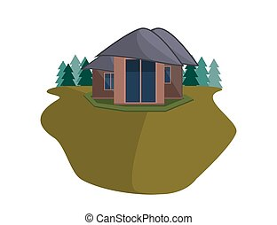 Mountain Side Summer Landscape With House and Woods in Flat Design