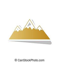 Mountain sign illustration. Vector. Golden gradient icon...