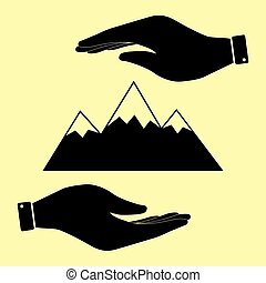 Save or protect symbol by hands. - Mountain sign. Save or...