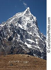 Mountain silence message, Himalayas, Nepal