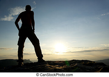 mountain., silhouette, homme