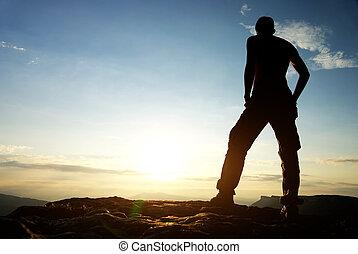 mountain., silhouette, man