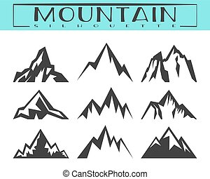 Mountain silhouette set - Mountain silhouette for logo, ...