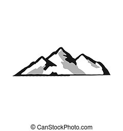 Mountain silhouette shape. Outdoor icon isolated on white background. Stock vector symbol