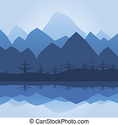 Mountain Silhouette With Lake Reflection