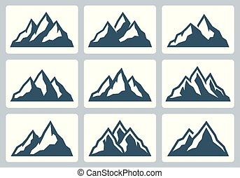 Mountain silhouettes, mountain range vector icon set