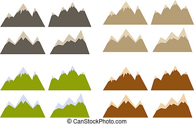 Mountain silhouettes - Vector pack of various mountains...