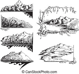 Mountain sketches. Set of black and white vector...
