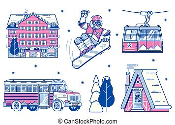 Mountain Ski Resort Icons and Elements - Mountain ski resort...