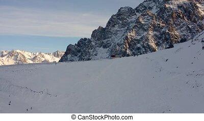 Mountain ski resort Shymbulak 4k - Aerial opening view on...