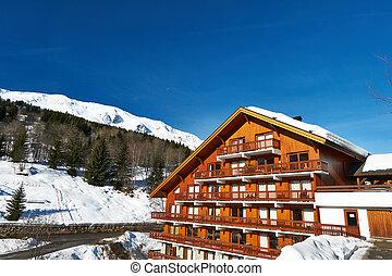 Mountain ski resort with snow in winter, Meribel, Alps, ...