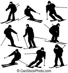 Mountain skier man speeding down slope. Vector sport...