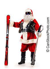 mountain-skier noel - Santa Claus is standing in the ski...