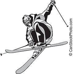 Mountain skier on skis - Black silhouette of the skier on a...