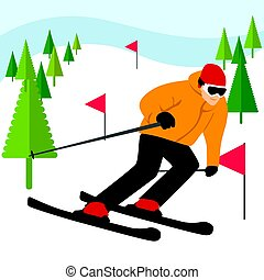 Mountain skier slides from mountain with coniferous trees and flags