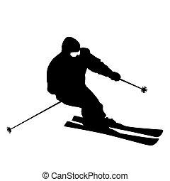 Mountain skier speeding down slope. Vector sport silhouette....