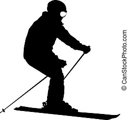 Mountain skier speeding down slope sport silhouette.