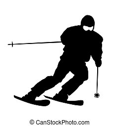 Mountain skier speeding down slope. Vector sport silhouette....