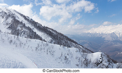 Mountain skiing in the mountains, Sochi