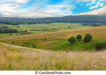 mountain sky green landscape forest nature hill view summer blue grass tree