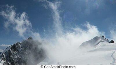 Mountain snow drift in the mountains. Belukha Mountain area....