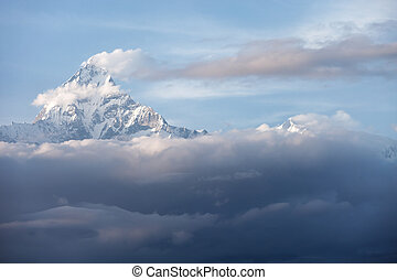 mountain snow peak cloudy cover