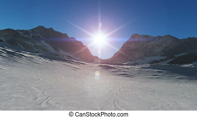 mountain snow sun